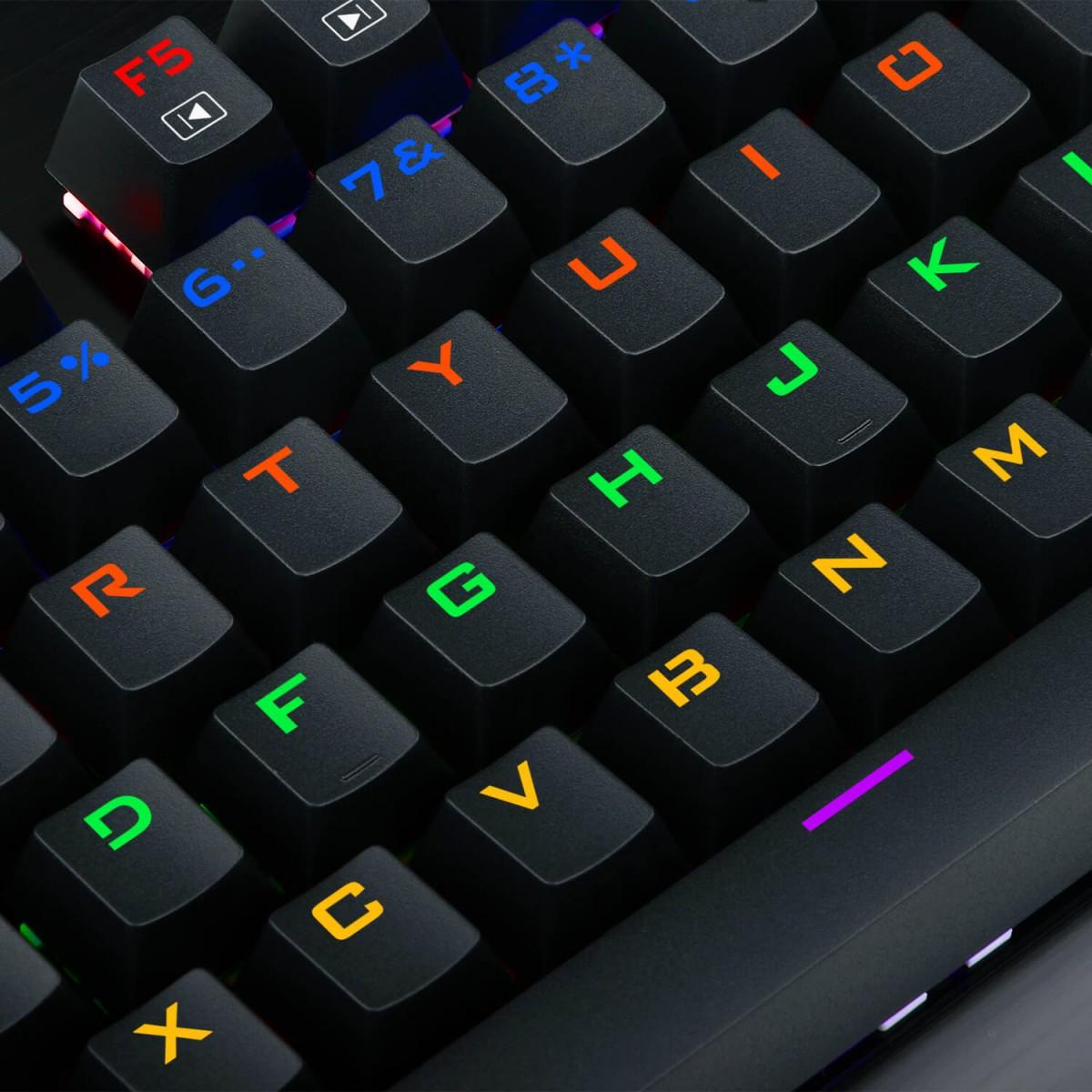 Teclado Gamer Mecânico Redragon Visnu Rainbow, Switch Blue, ABNT2, Black, K561R-2