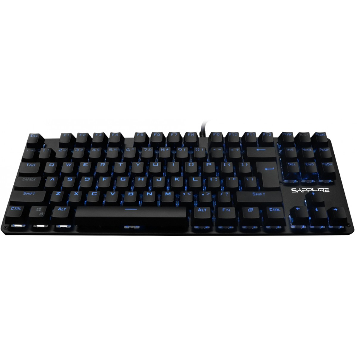 Teclado Gamer Mecanico Sapphire SP12 Preto Led Azul Switch Brown - Open box