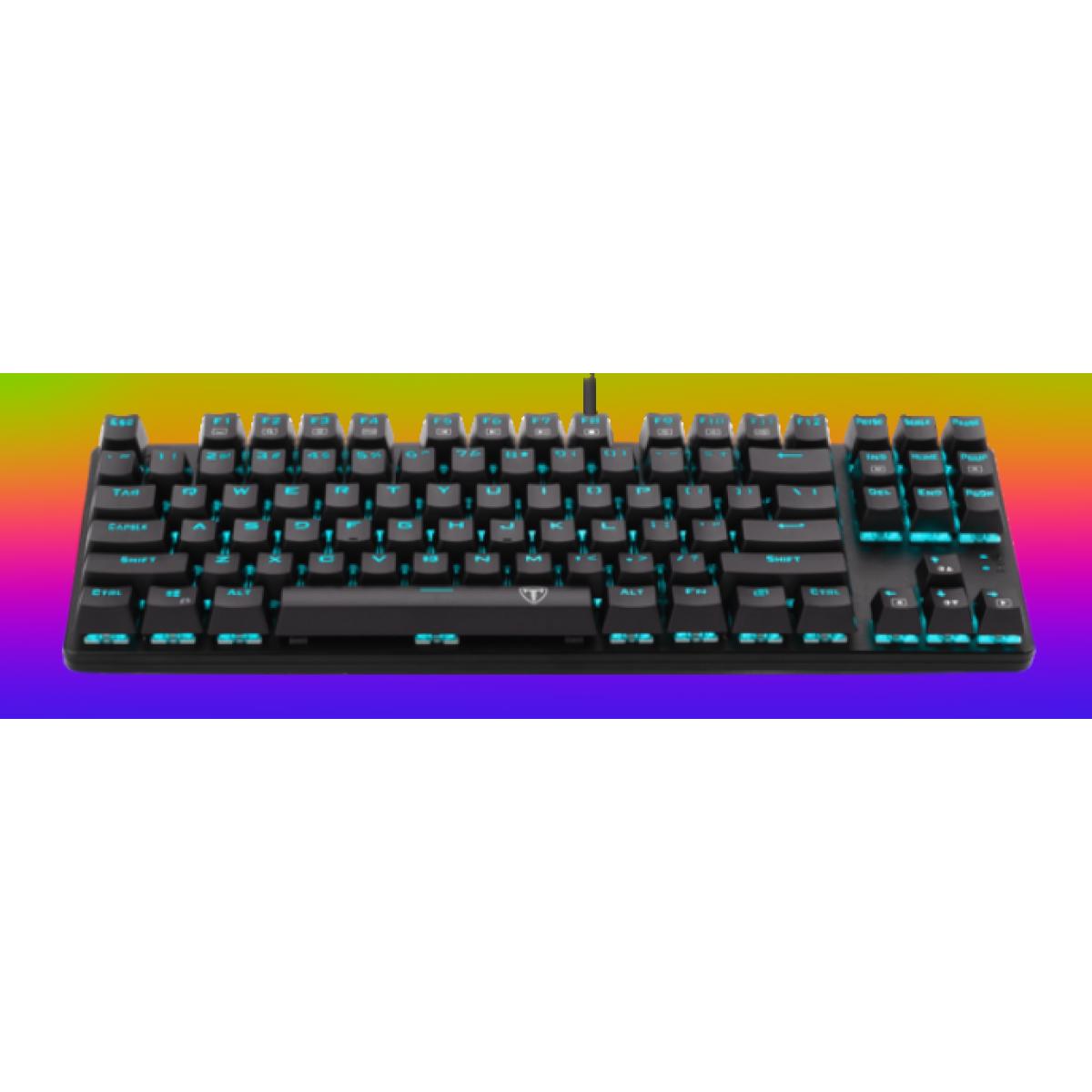 Teclado Gamer Mecânico T-Dagger Bali RGB, Switch Blue, Black, T-TGK311