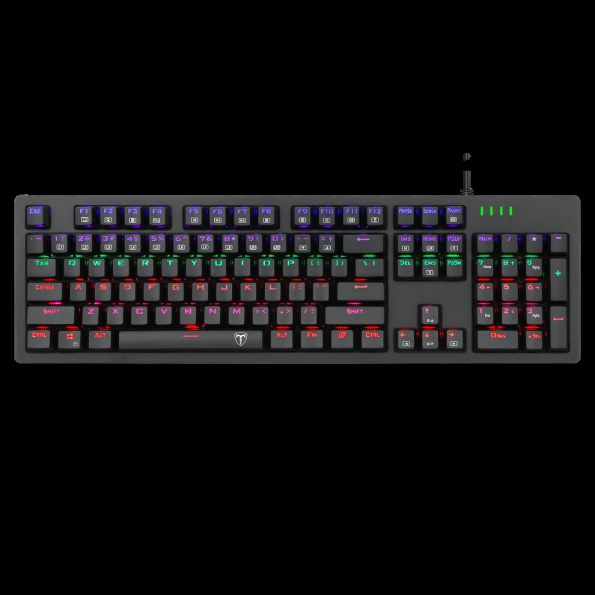 Teclado Gamer Mecânico T-Dagger Bermuda, RGB, Switch Brown, Black, ABNT2, T-TGK312-BR