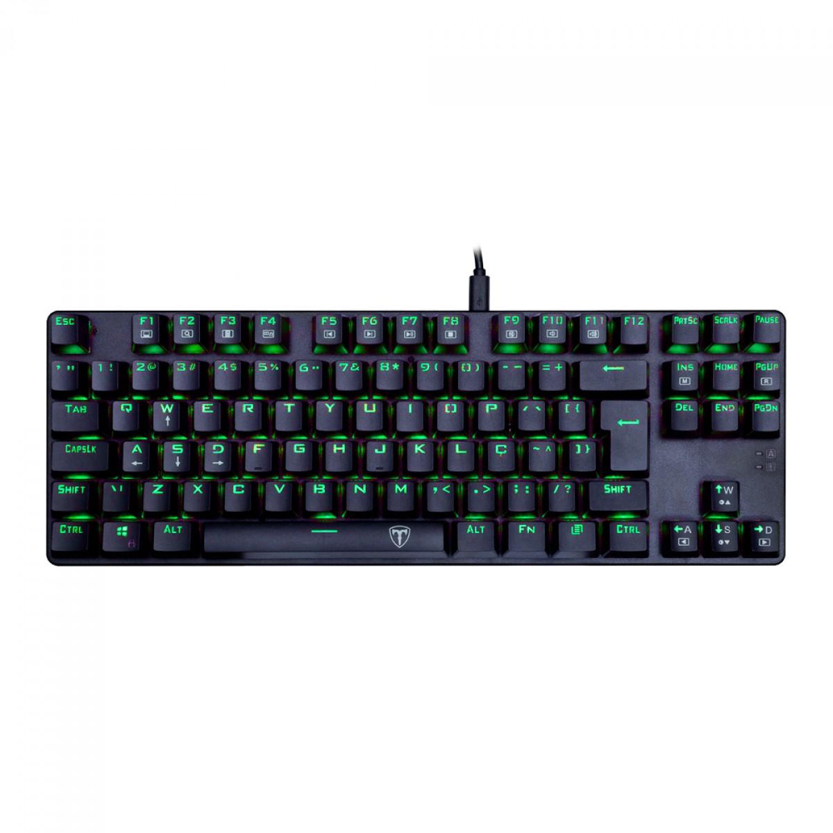 Teclado Gamer Mecânico T-Dagger Bora Single, Switch Blue, ABNT2, Led Green, T-TGK313-BL