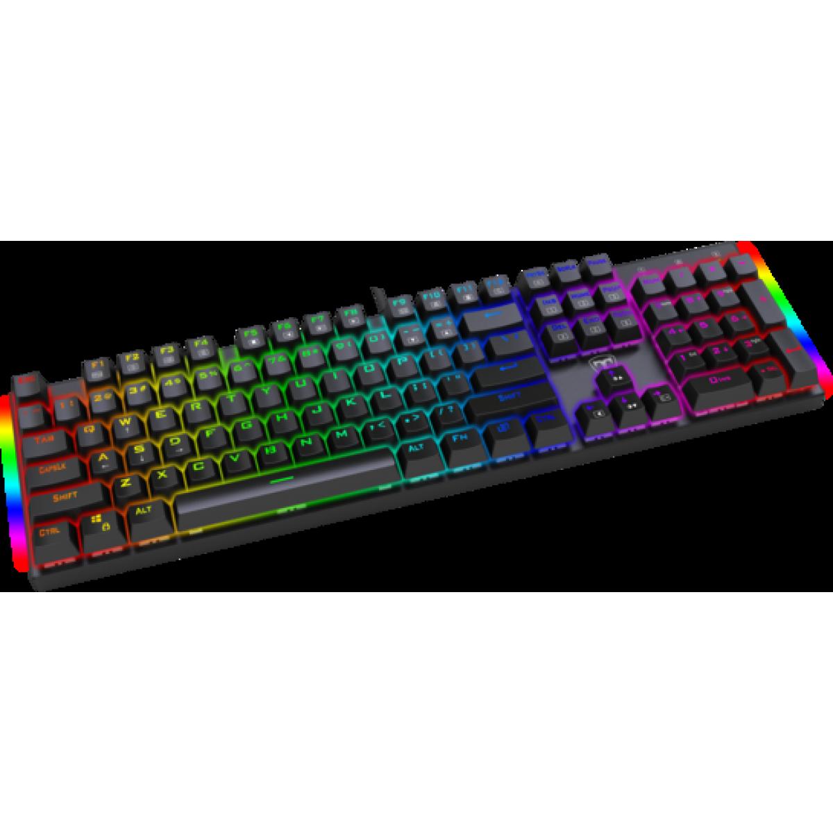Teclado Gamer Mecânico T-Dagger Frigate RGB, Switch Blue, Black, T-TGK306