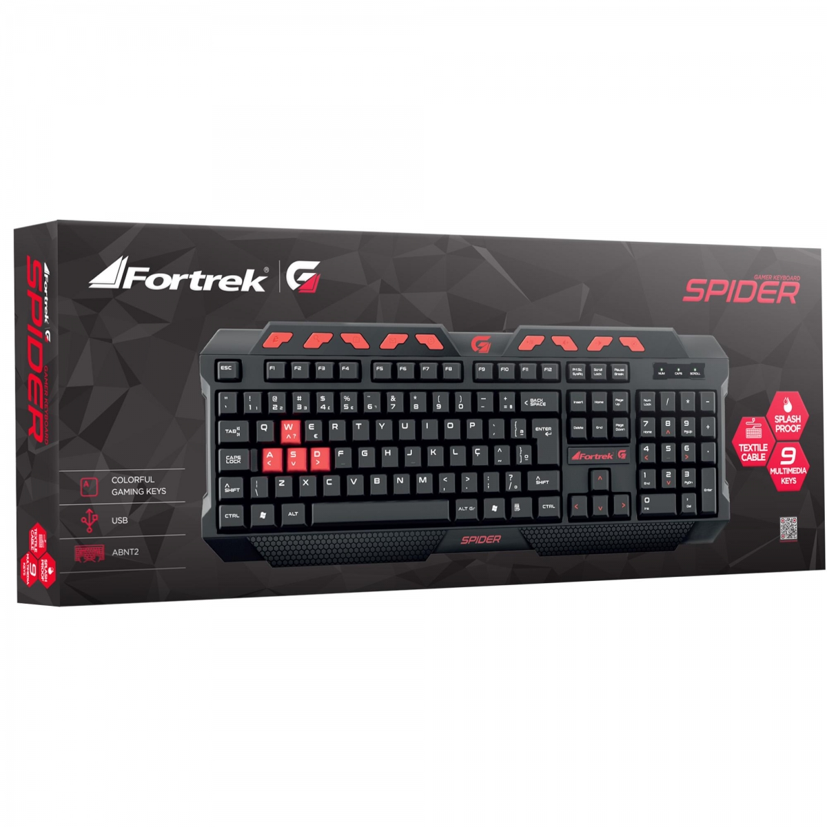 Teclado Gamer Multimídia FORTREK SPIDER GK-704 Black/Red