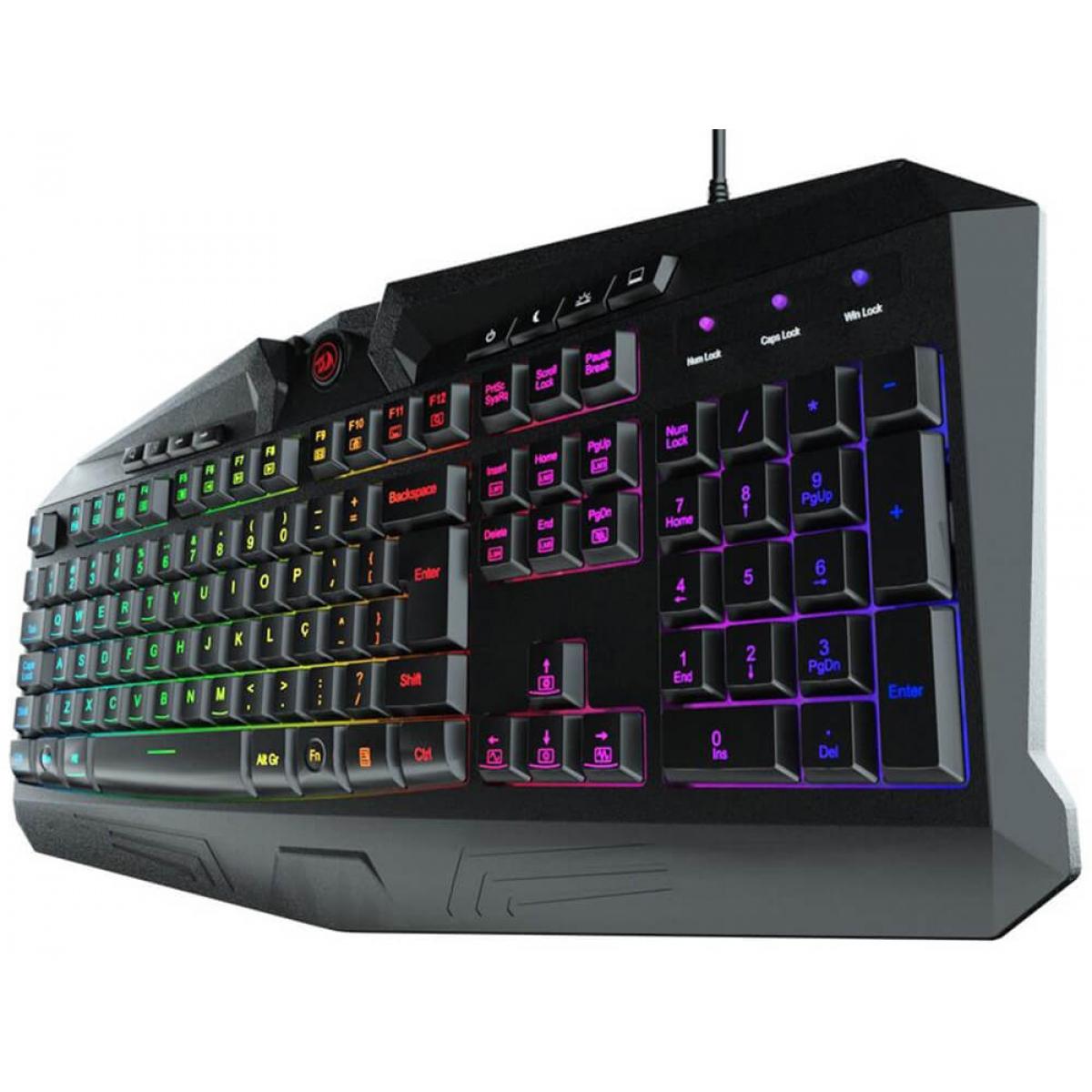 Teclado Gamer Redragon Harpe RGB, ABNT2, K503RGB
