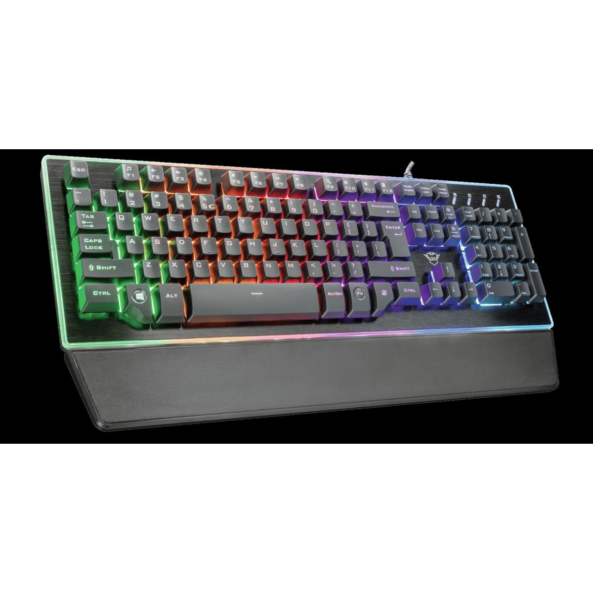Teclado GamerTrustThura, Semi-Mecanico, RGB, USA, GXT860
