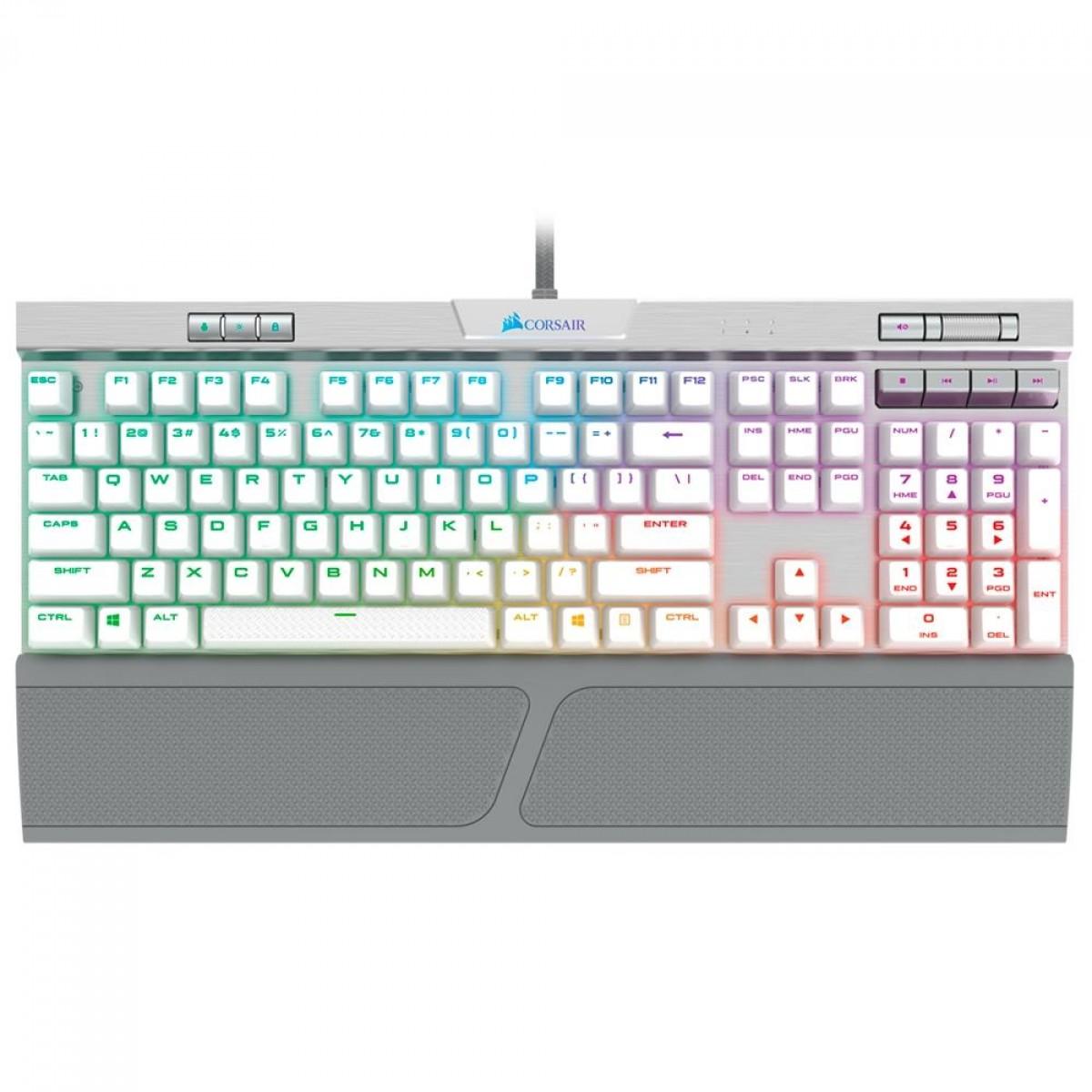 Teclado Mecânico Gamer Corsair K70 RGB MK.2, Switch Cherry MX Speed, ANSI, White, CH-9109114-NA