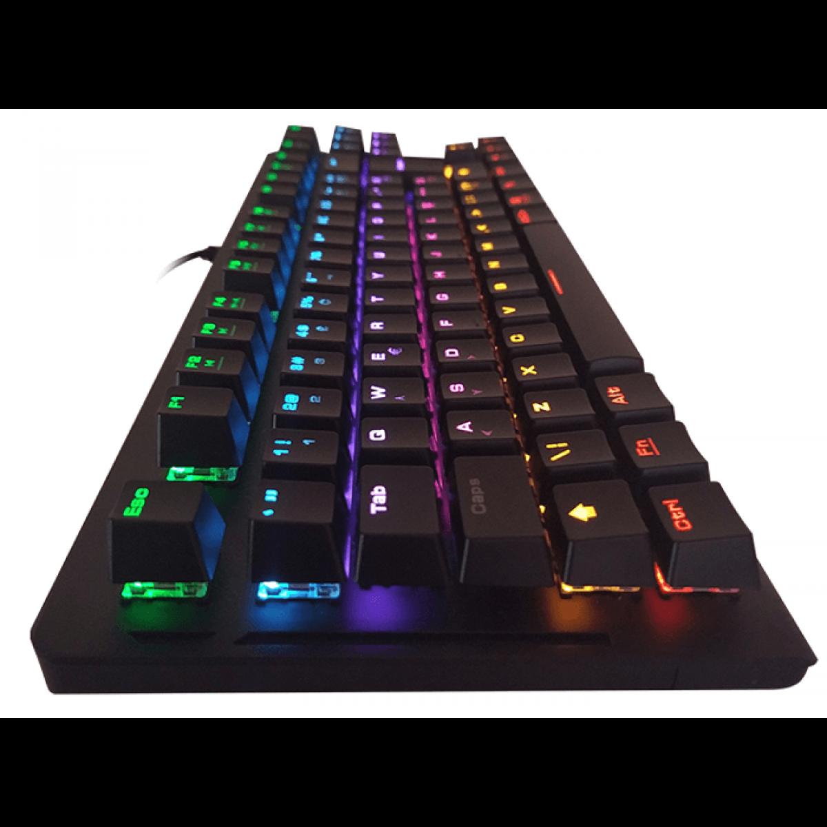 Teclado Mecânico Gamer Gamdias Hermes E2 Rainbow, Switch Blue, ABNT2