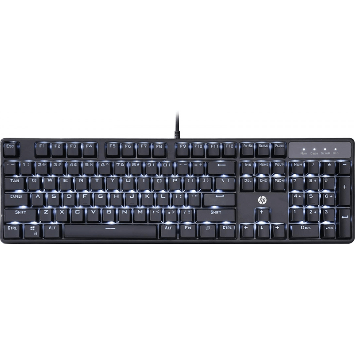 Teclado Mecânico Gamer HP GK320, Switch Blue, ABNT2, Black