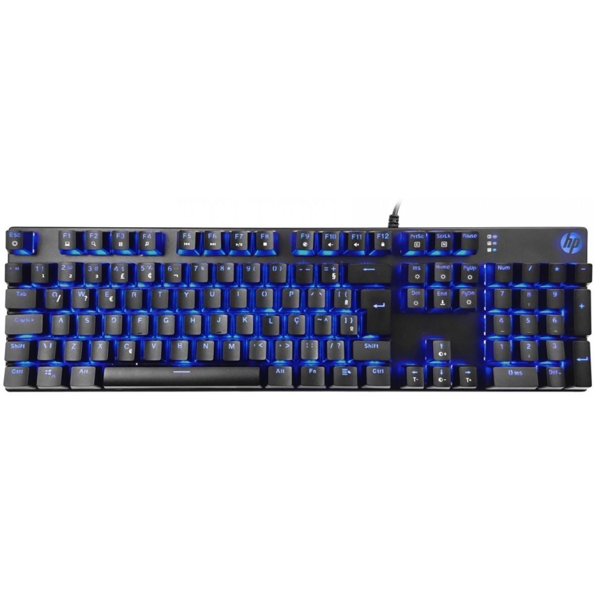 Teclado Mecânico Gamer HP GK400F, Switch Blue, Led Blue, Black