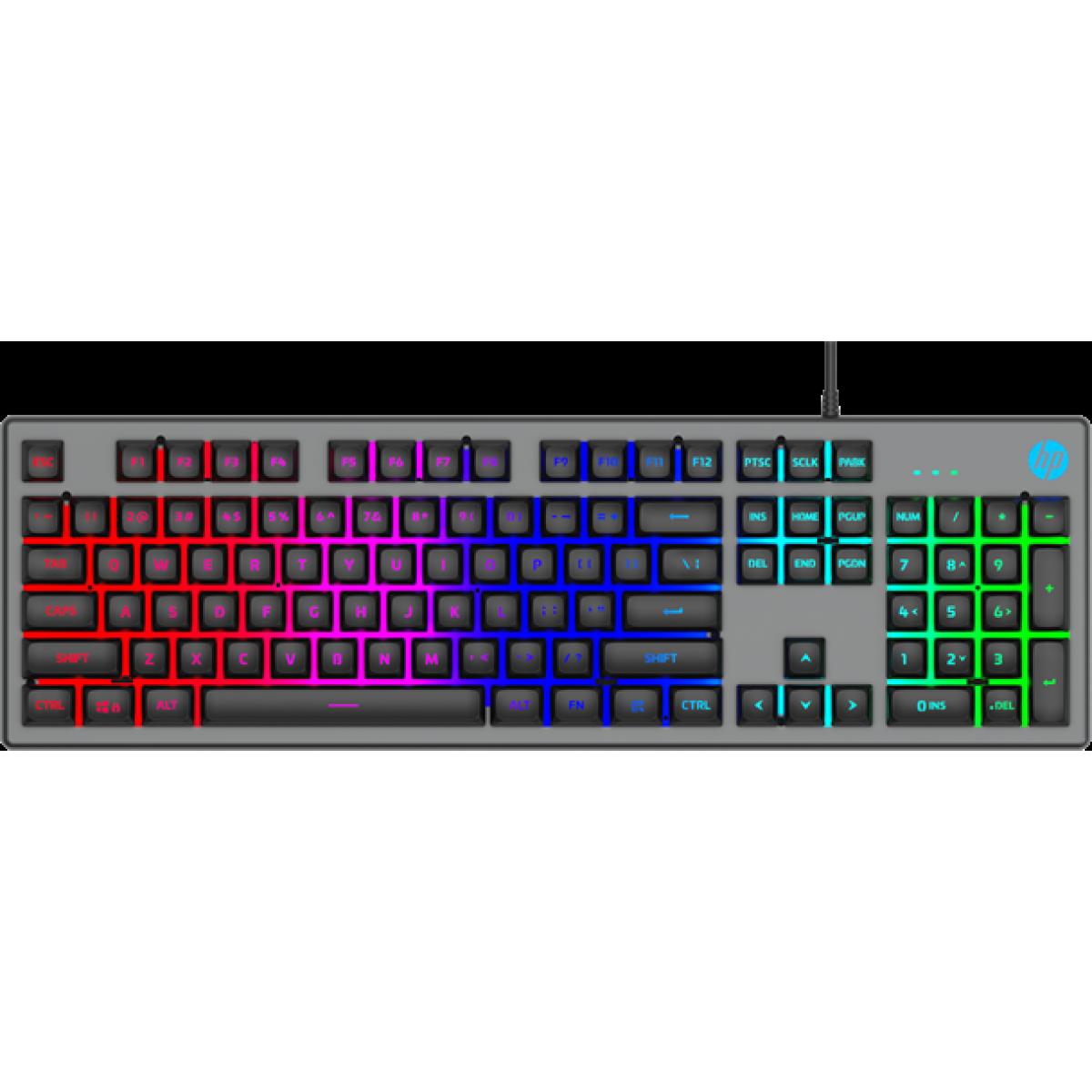 Teclado Gamer HP K500F, Led RGB, Black