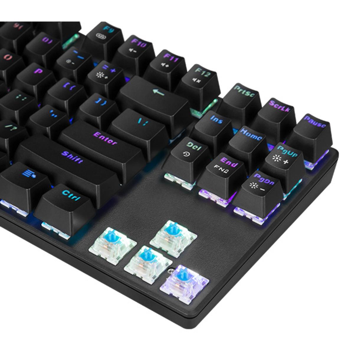 Teclado Mecânico Gamer Marvo Scorpion KG914, USB 2.0, Switch Azul, Rainbow