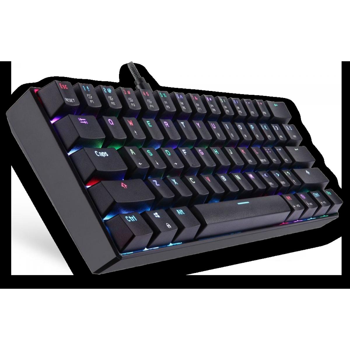 Teclado Mecânico Gamer Motospeed CK61 Essential, RGB, Switch Azul, Preto, FMSTC0090AZL