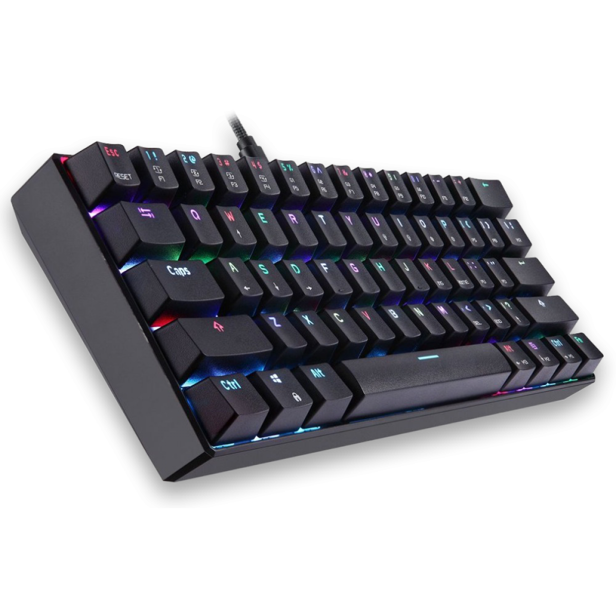 Teclado Mecânico Gamer Motospeed CK61 Essential, RGB, Switch vermelho, Preto, FMSTC0091VEM