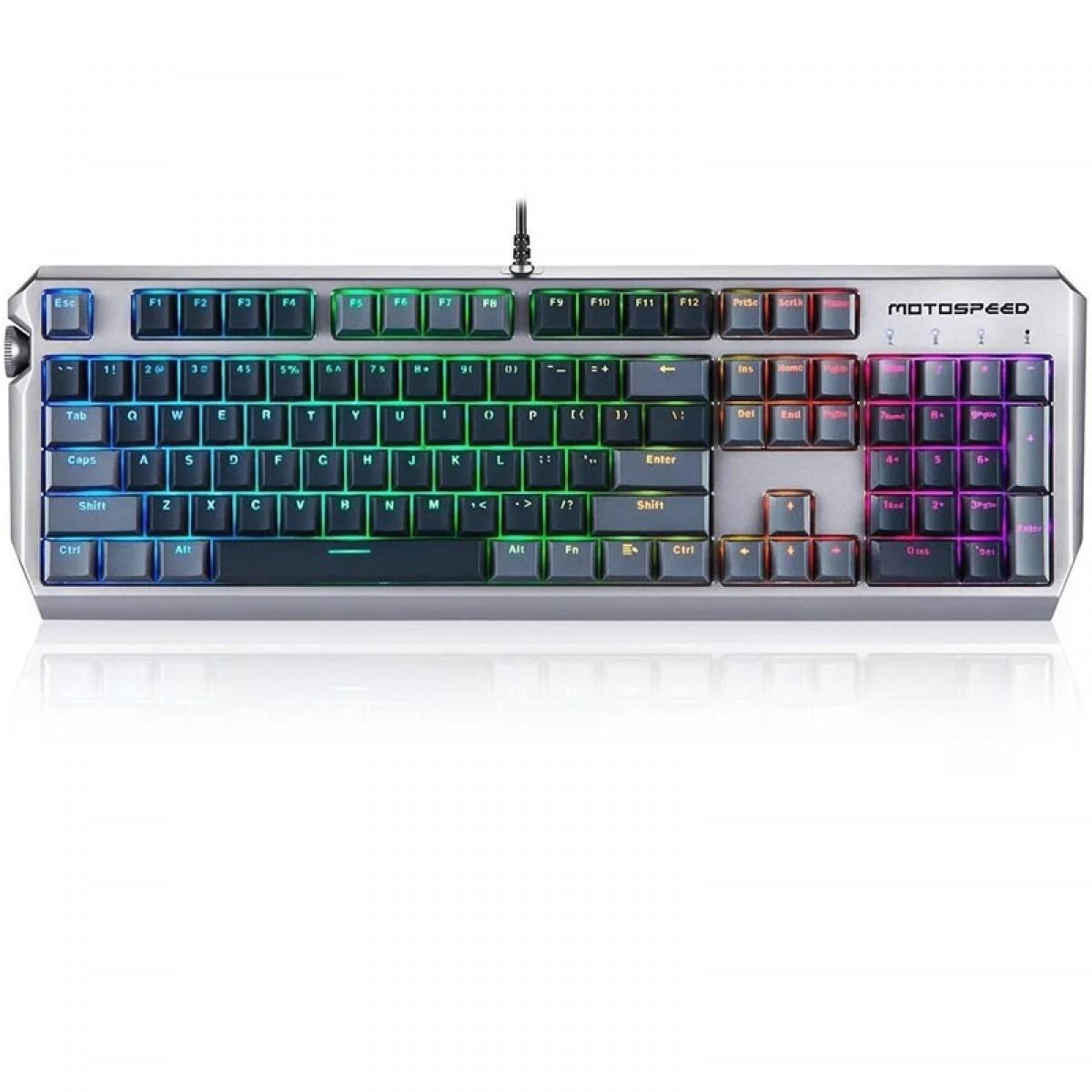 Teclado Mecânico Gamer MotoSpeed CK80 RGB, Switch Silver, FMSTC0082CIZ