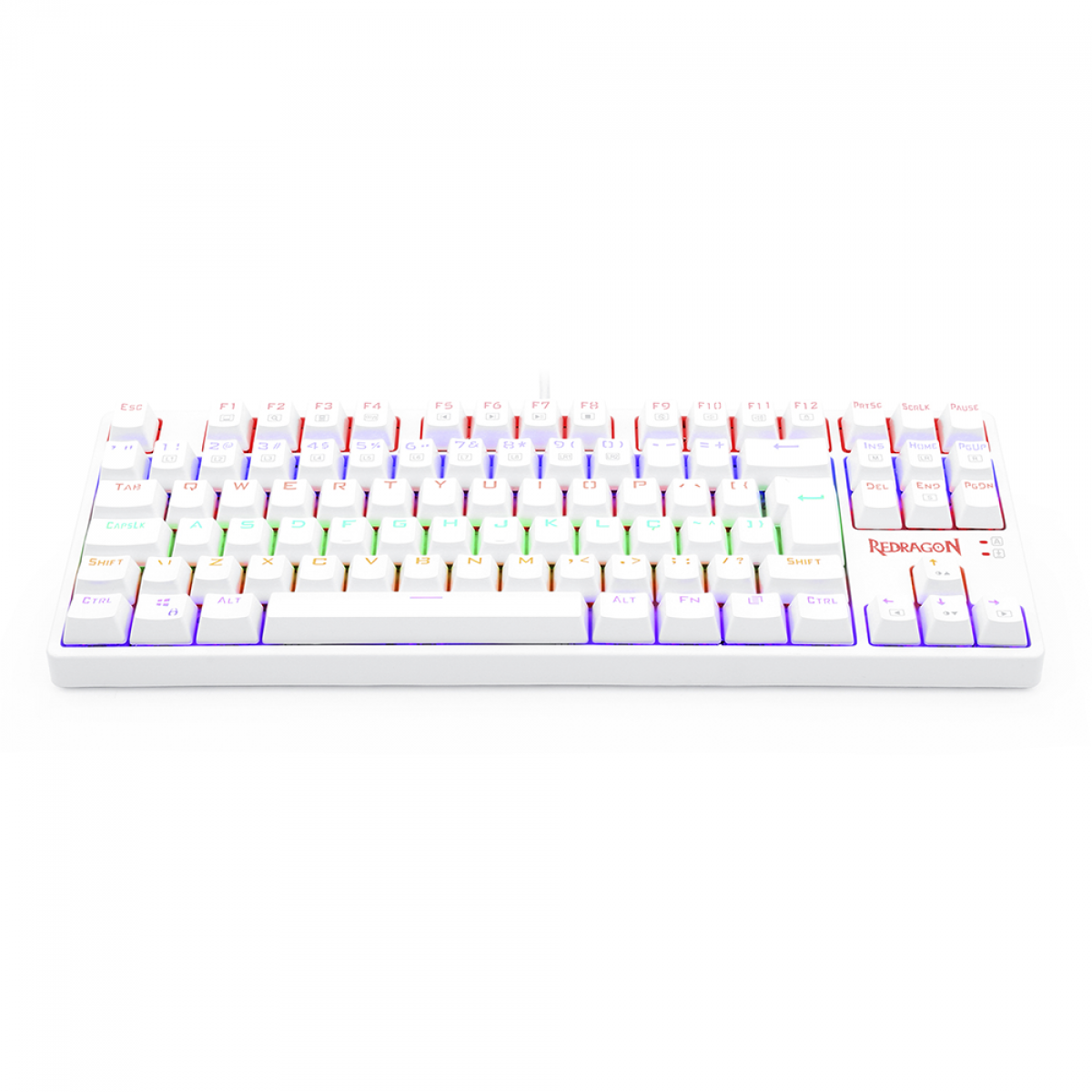Teclado Mecânico Gamer Redragon Daksa Rainbow, Switch Blue Removíveis, ABNT2, White, K576W-R PT-BLUE