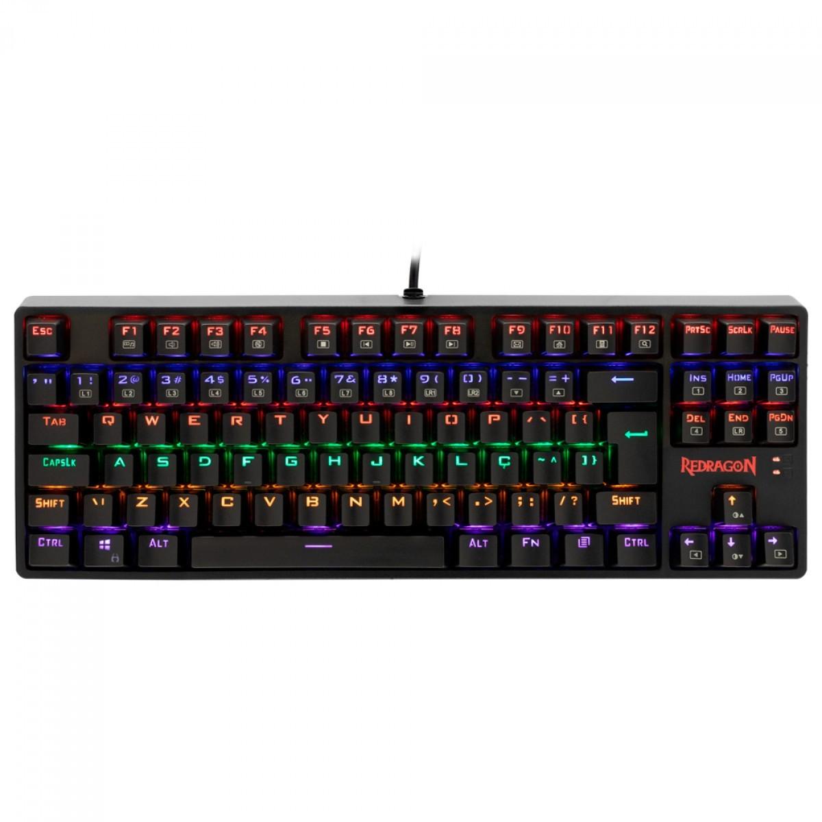 Teclado Mecânico Gamer Redragon Daksa Rainbow, Switch Brown Removíveis, ABNT, Black, K576R-1 PT-BROWN