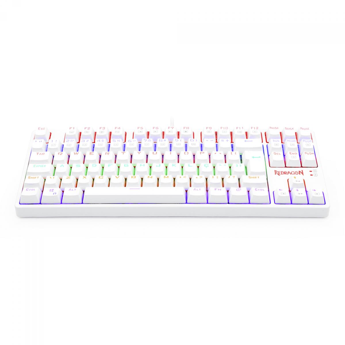 Teclado Mecânico Gamer Redragon Daksa Rainbow, Switch Red Removíveis, ABNT2, White, K576W-R PT-RED