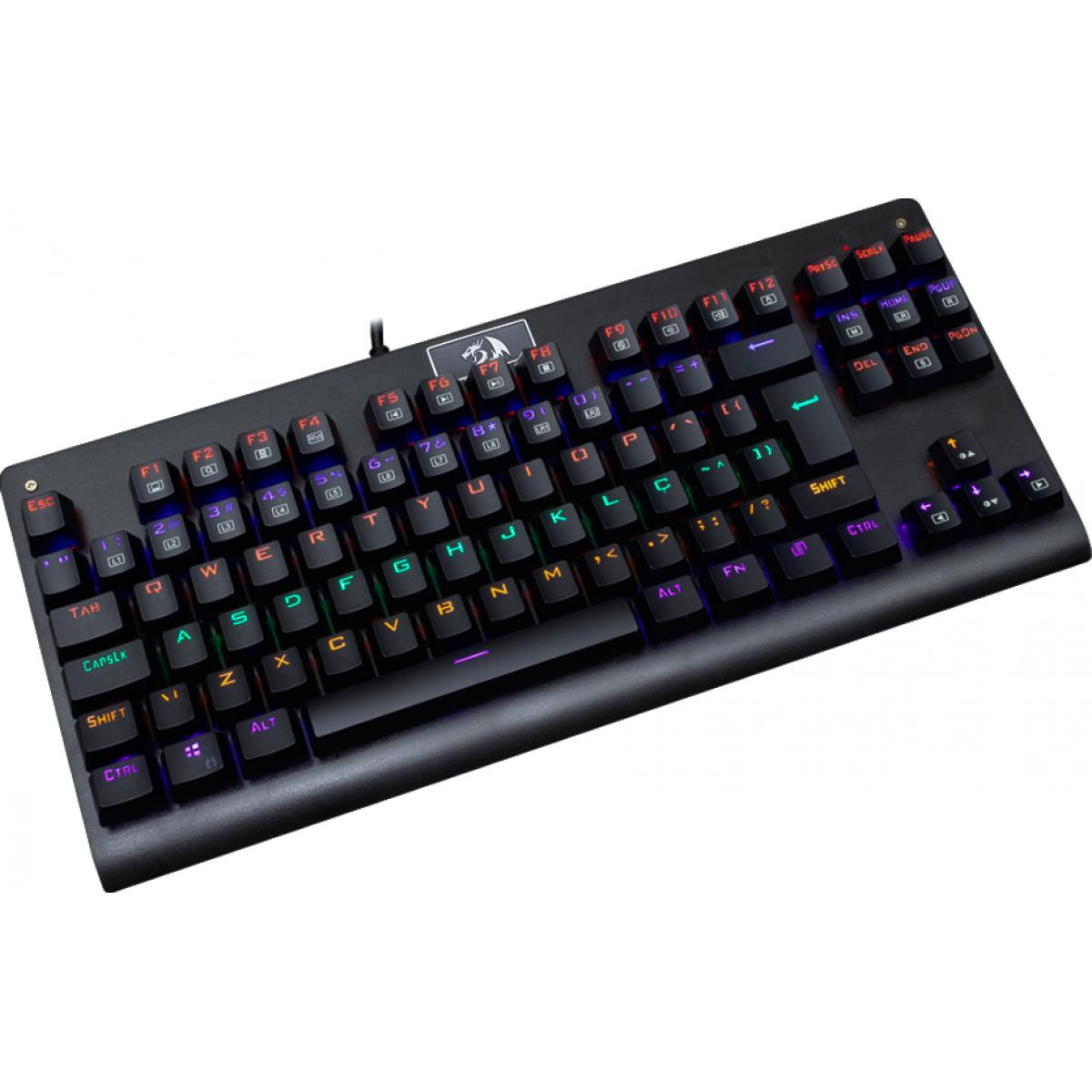 Teclado Mecânico Gamer Redragon Dark Avenger K568 Rainbow, Switch Brown, ABNT2, Black