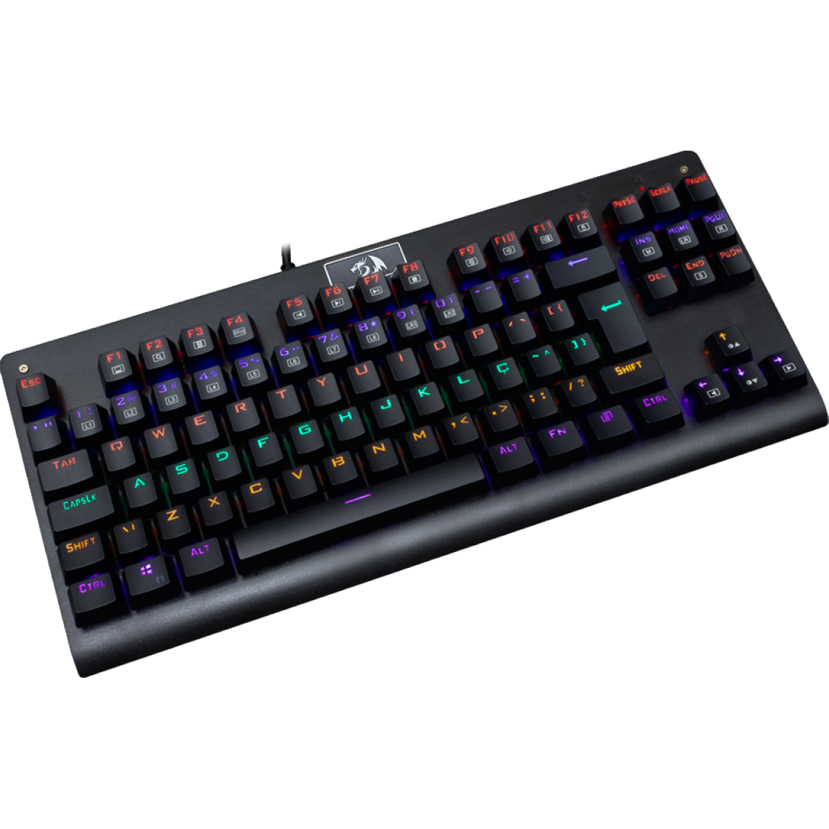 Teclado Mecânico Gamer Redragon Dark Avenger K568 Rainbow, Switch Red, ABNT2, Black
