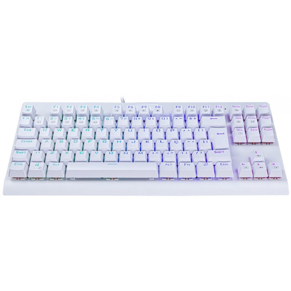 Teclado Mecânico Gamer Redragon Dark Avenger Lunar K568 RGB, Switch Blue, ABNT2, White