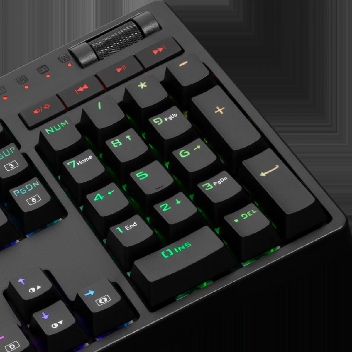 Teclado Mecânico Gamer Redragon K579 Manyu RGB, Switch Blue, ABNT2, Black, K579