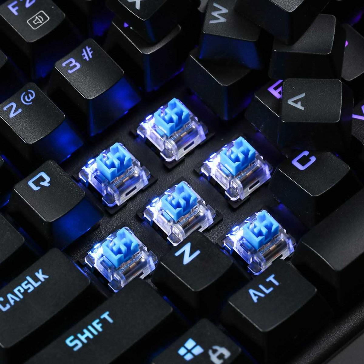 Teclado Mecânico Gamer Redragon K587 Magic-Wand RGB, Switch Azul, Black
