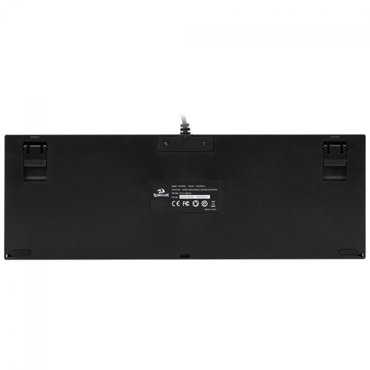 Teclado Mecânico Gamer Redragon Kumara K552 RGB, Switch Brown, ABNT2, Black, K552RGB-1-PTBROWN