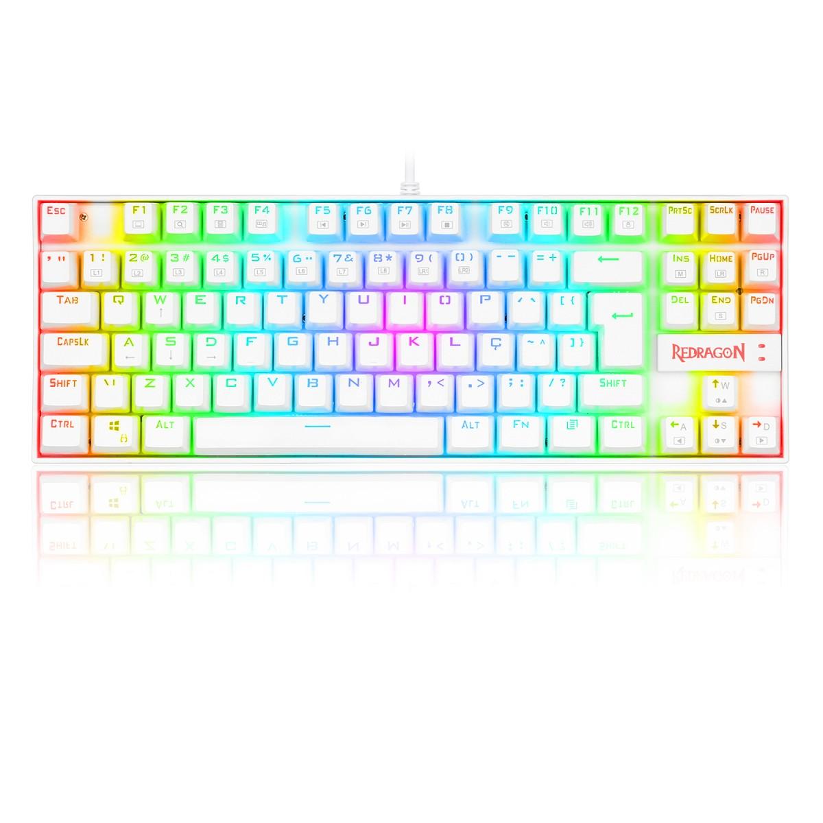 Teclado Mecânico Gamer Redragon Kumara Lunar K552, RGB, Switch Black, ABNT2, White, K552W-RGB (PT-BLACK)