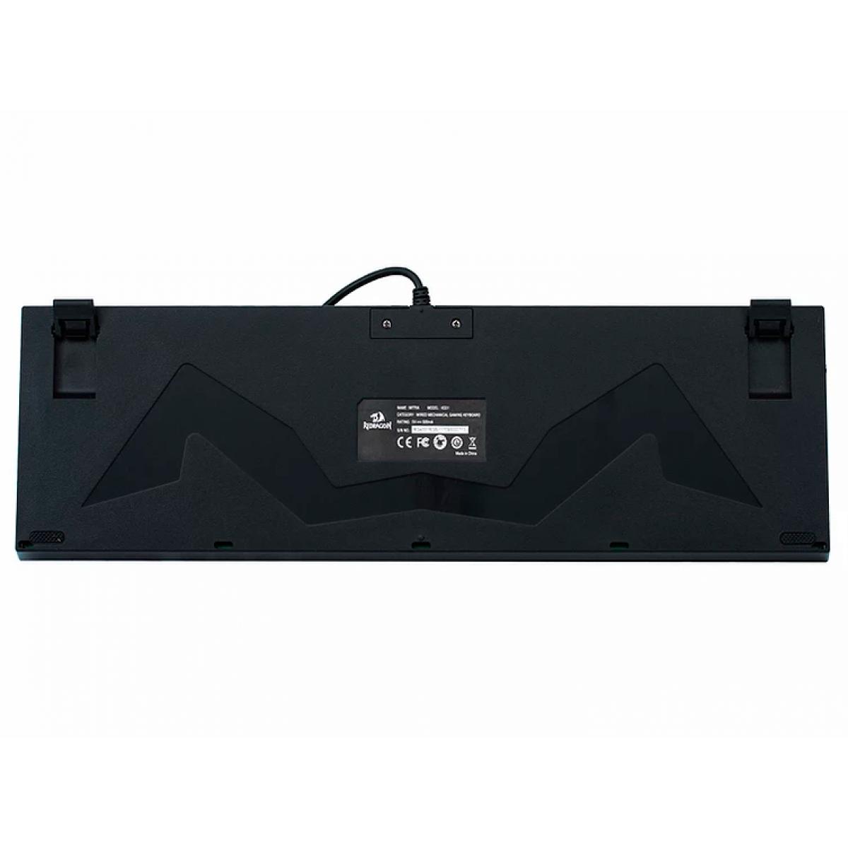 Teclado Mecânico Gamer Redragon Mitra, Single Color, Switch Brown, ABNT2, K551-1-PT-BROWN
