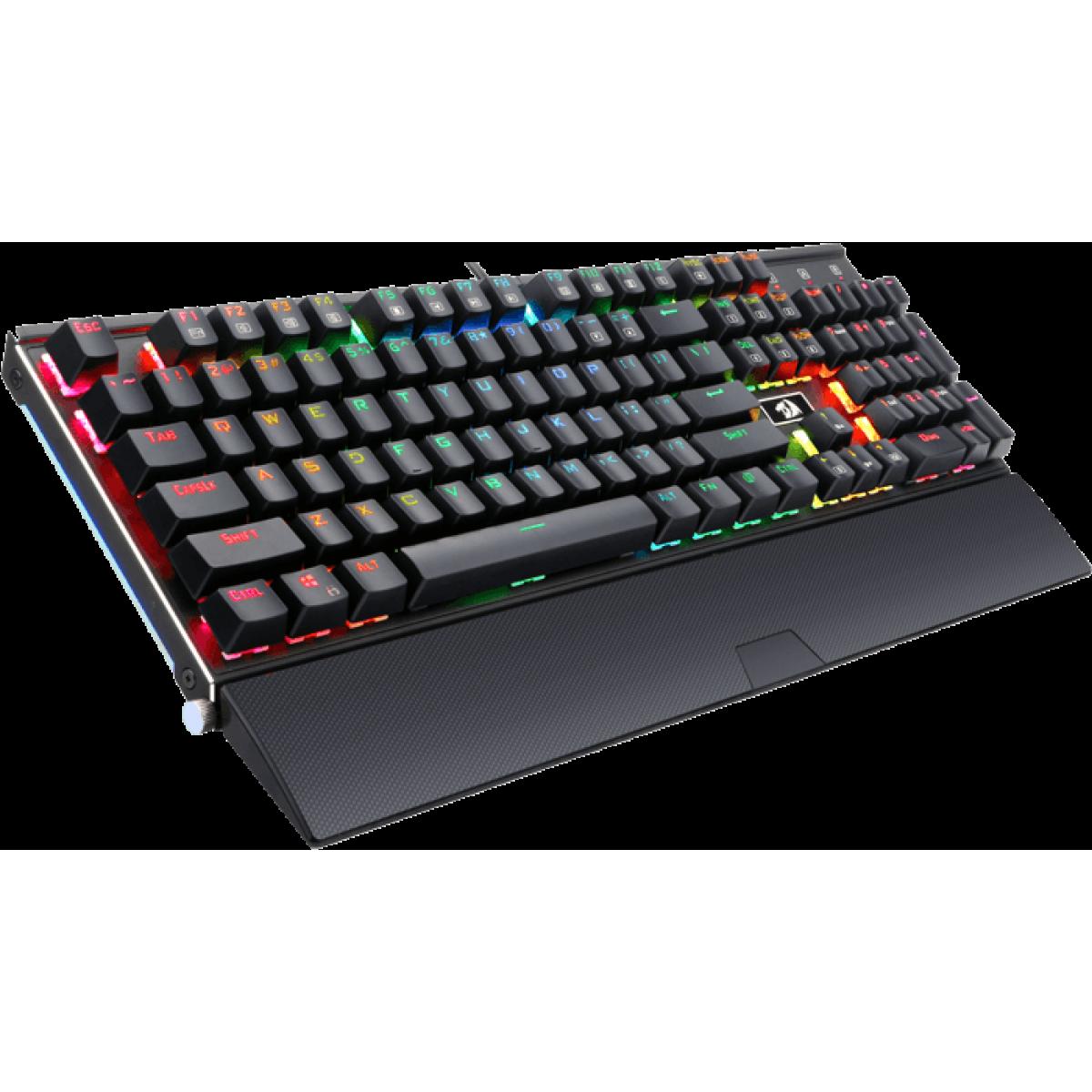 Teclado Mecânico Gamer Redragon Rahu K567 RGB, Switch Azul, Black