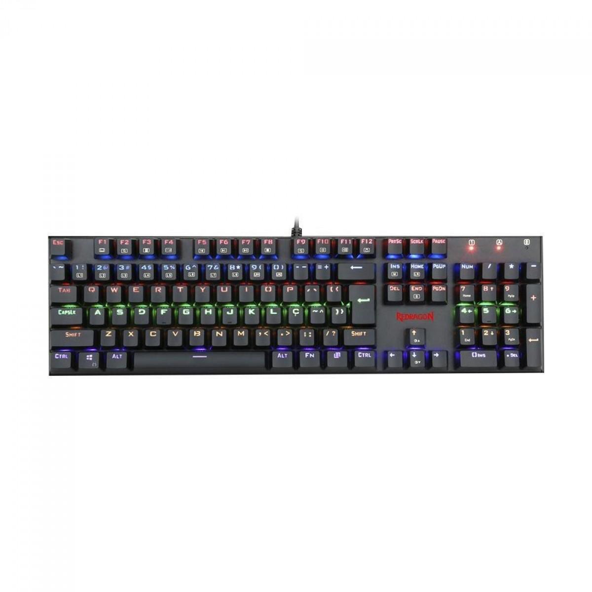 Teclado Mecânico Gamer Redragon Rudra Rainbow, Switch Blue Removíveis, ABNT, Black, K565R-2 PT-BLUE