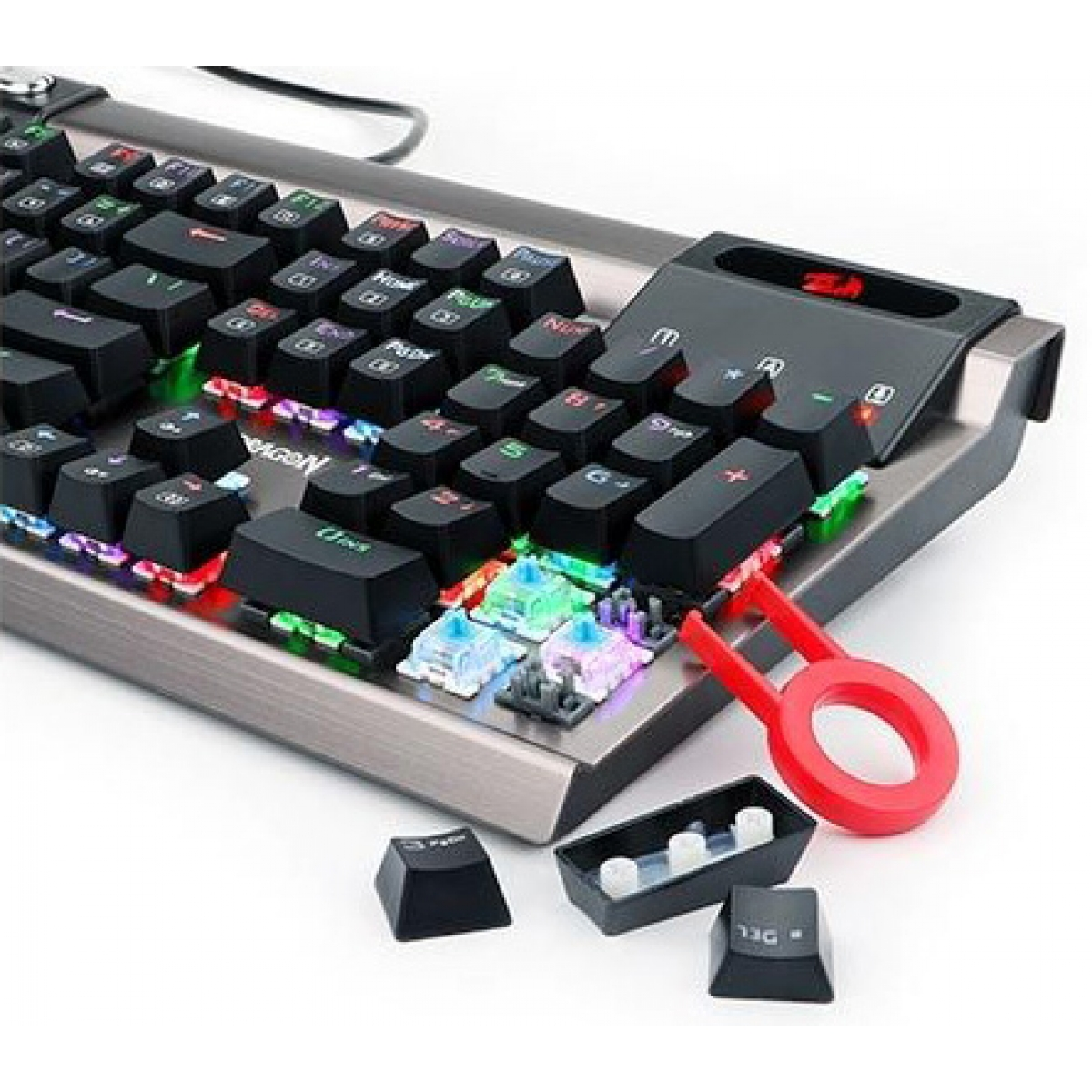 Teclado Mecânico Gamer Redragon Surya K563 RGB, Switch Outemu Blue, Grey