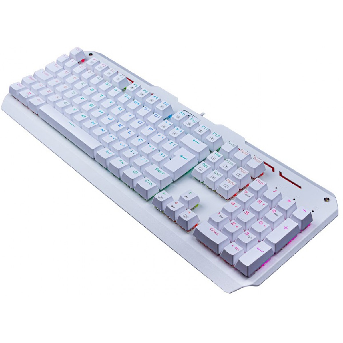Teclado Mecânico Gamer Redragon Varuna Lunar K559W RGB, Switch Brown, ABNT2, White