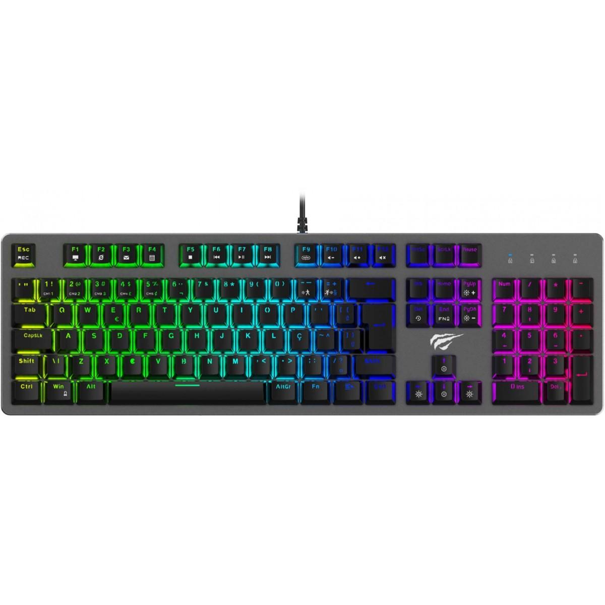Teclado Mecânico Havit RGB, Switch Blue, ABNT-2, Black, KB493L