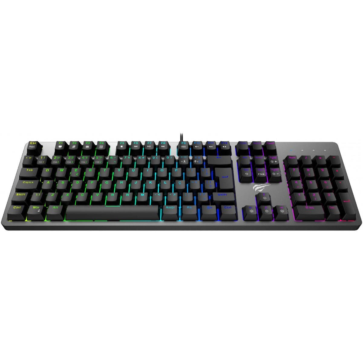 Teclado Mecânico Havit RGB, Switch Brown, ABNT-2, Black, KB492L