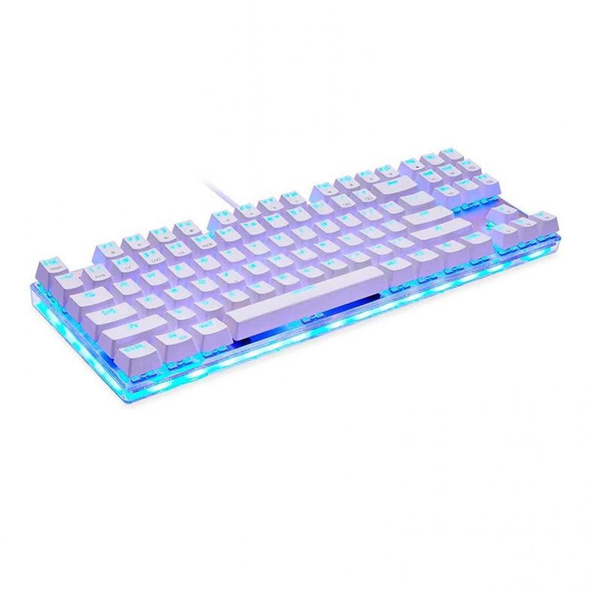 Teclado Mecanico Motospeed K87S, Branco, Switch Blue, RGB, FMSTC0006AZL