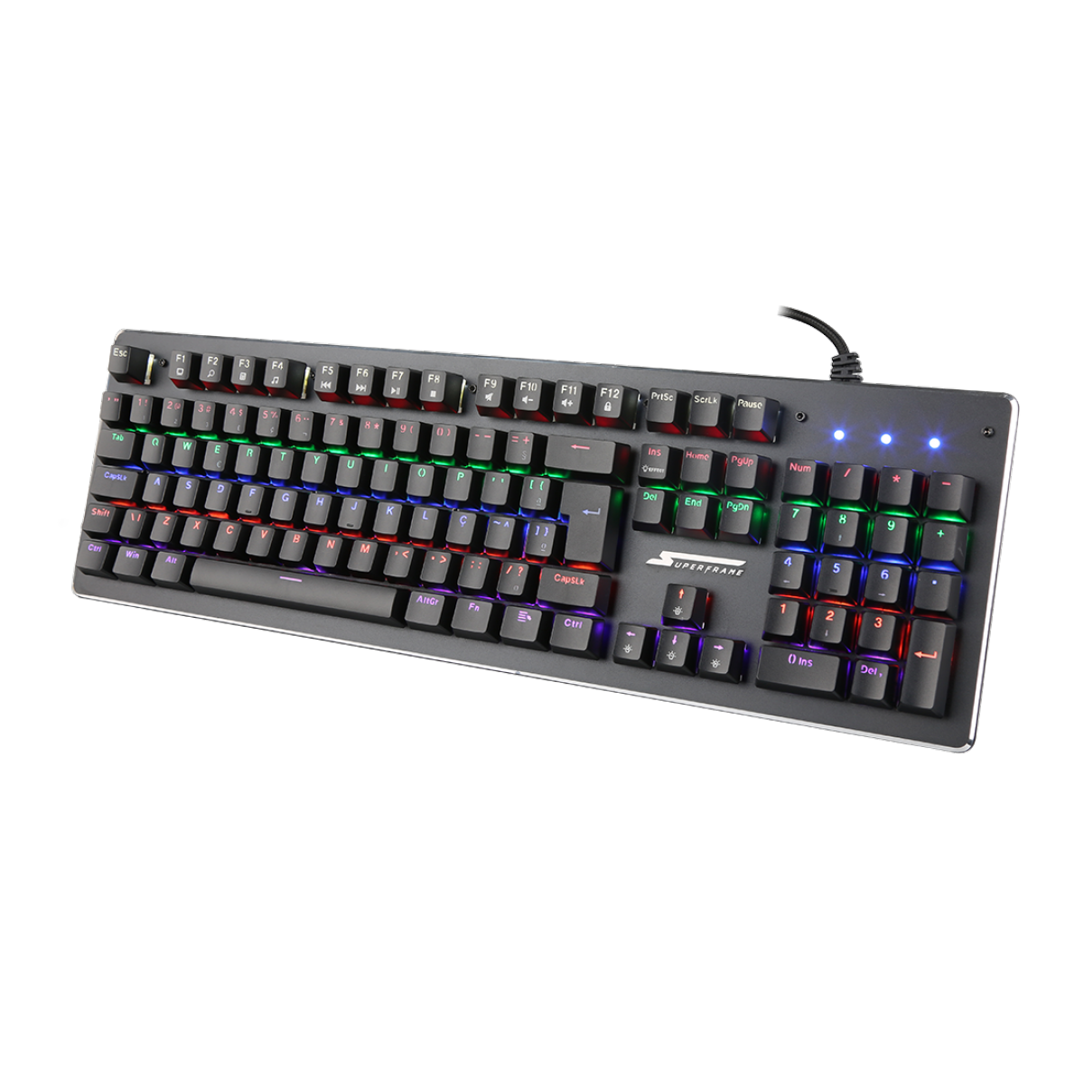 Teclado Mecânico SuperFrame, PLAYER 1, Rainbow, Switch Blue, ABNT2, Black
