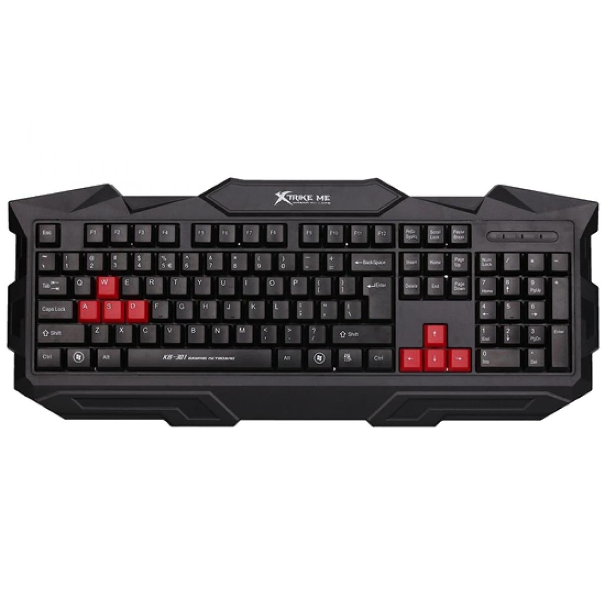 Teclado Membrana XTRIKE-ME KB-301, Inglês, Black/Red, KB301BK