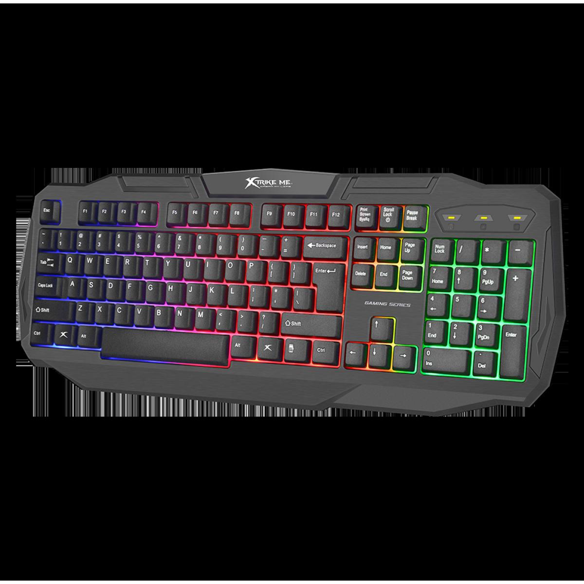 Teclado Membrana XTRIKE-ME KB-302, RGB, backlight, Inglês, Black, KB302BK