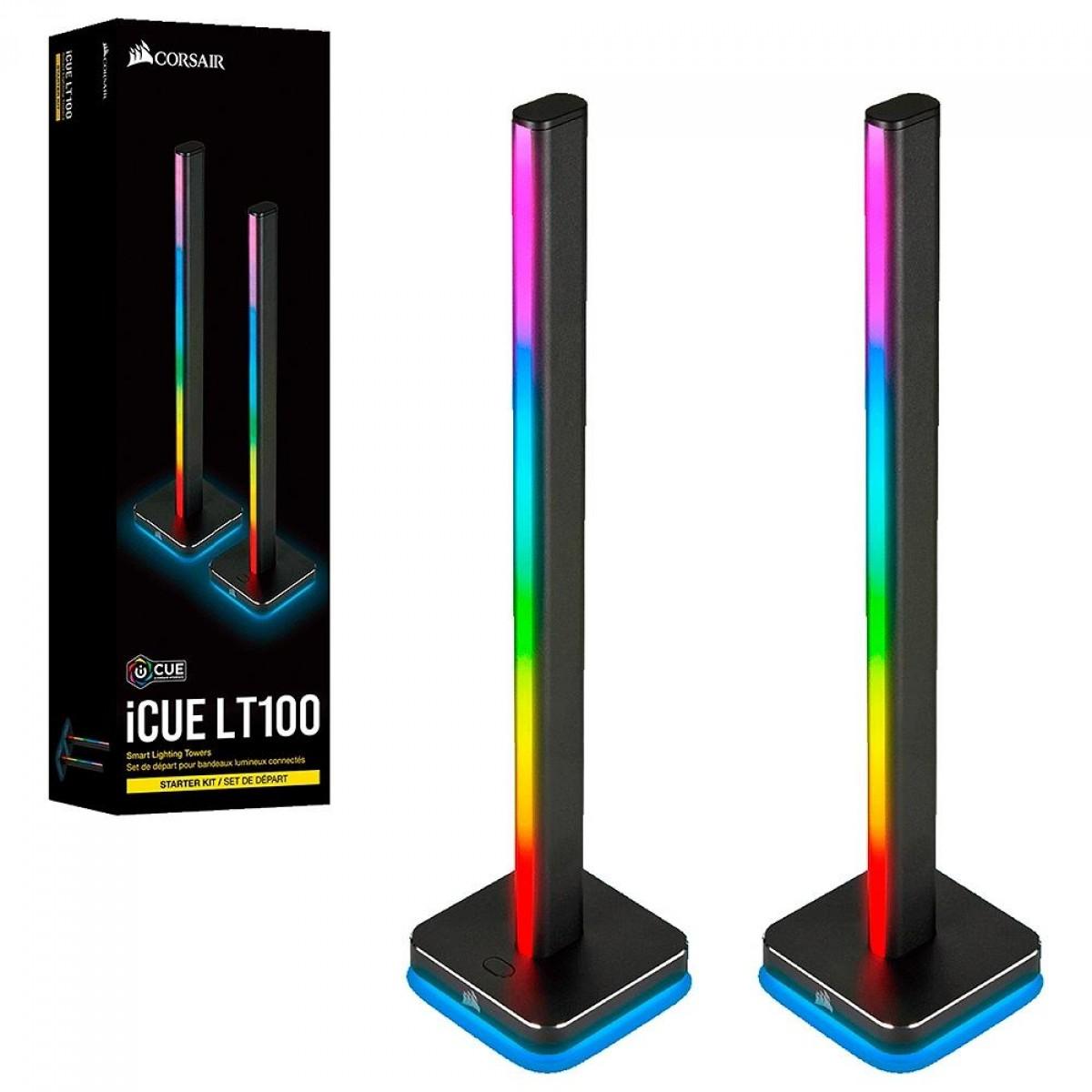 Torre de Iluminação Corsair ICUE LT100, RGB, Suporte para Headset, CD-9010002-NA