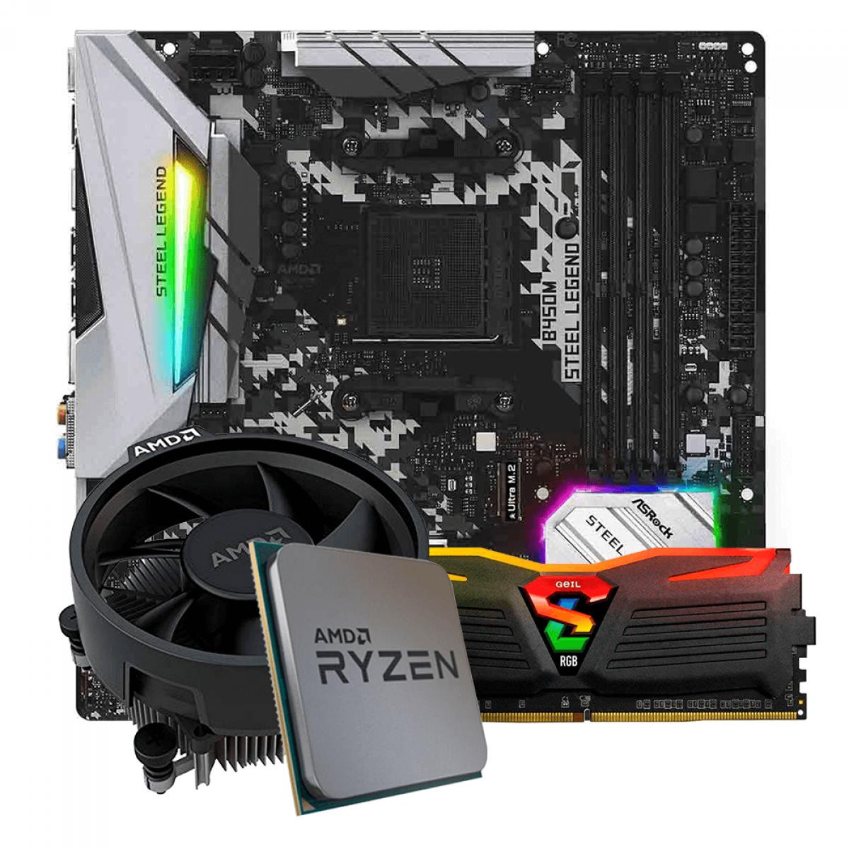 Kit Upgrade, AMD Ryzen 5 3600, ASRock B450M Steel Legend, Memória Geil Super Luce DDR4 8GB 3000MHz