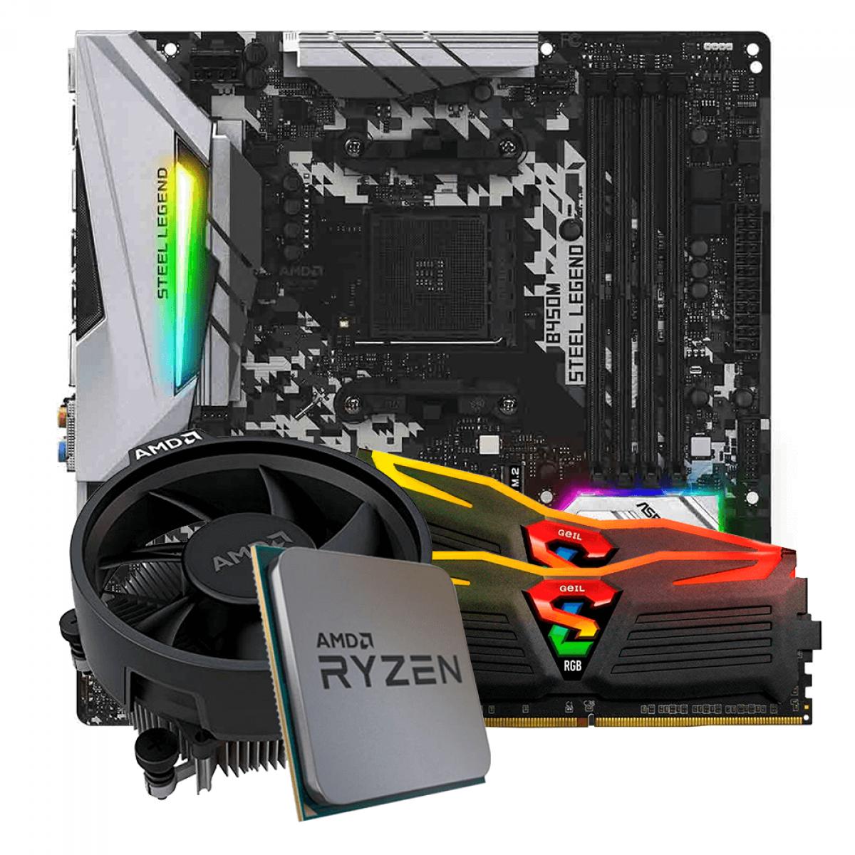 Kit Upgrade, AMD Ryzen 5 3500, ASRock B450M Steel Legend, Memória Geil Super Luce DDR4 16GB (2x8GB) 3000MHz
