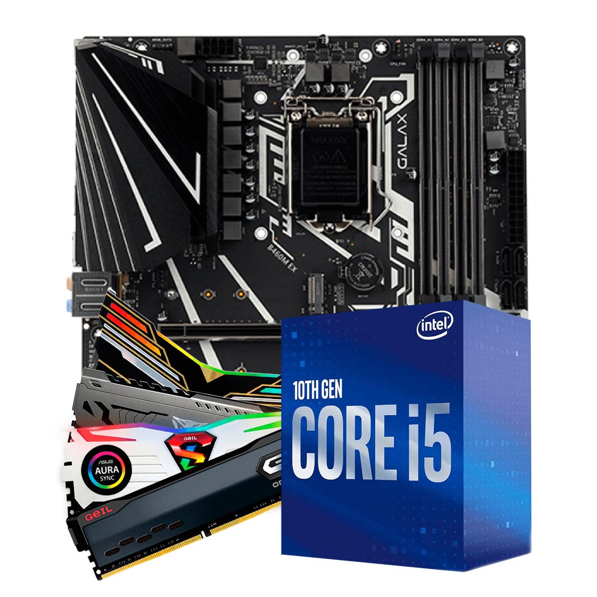 Kit Upgrade, Intel i5 10400F, Galax B460M EX, Memória DDR4 16GB (2x8GB) 3000MHz