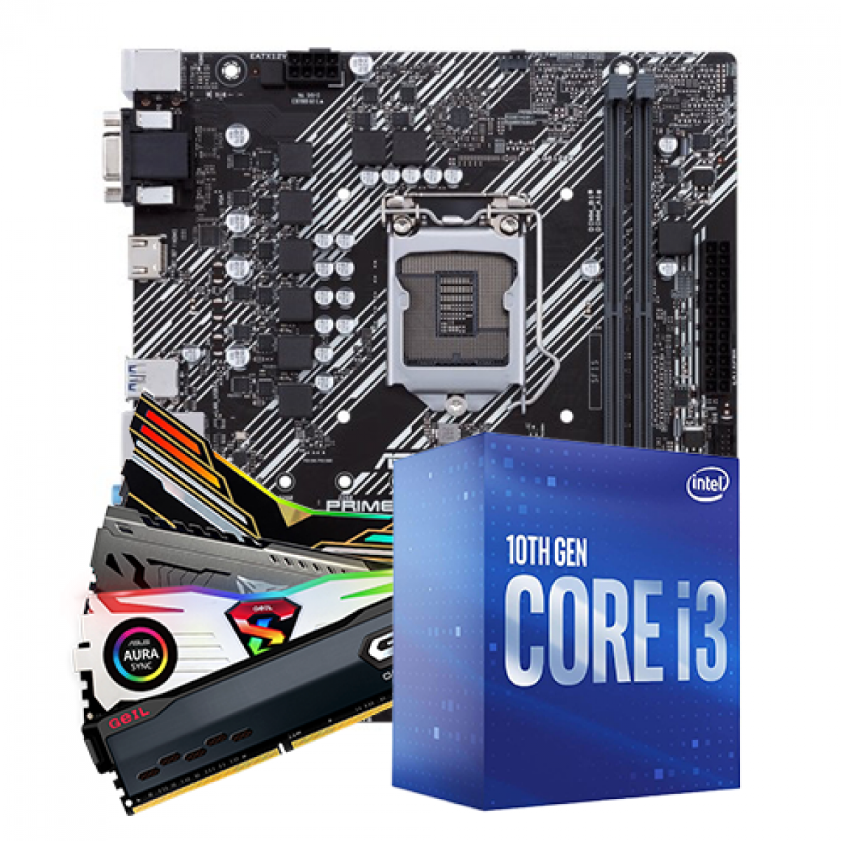 Kit Upgrade, Intel i3 10100F, ASUS Prime H410M-E, Memória DDR4 16GB (2x8GB) 3000MHz
