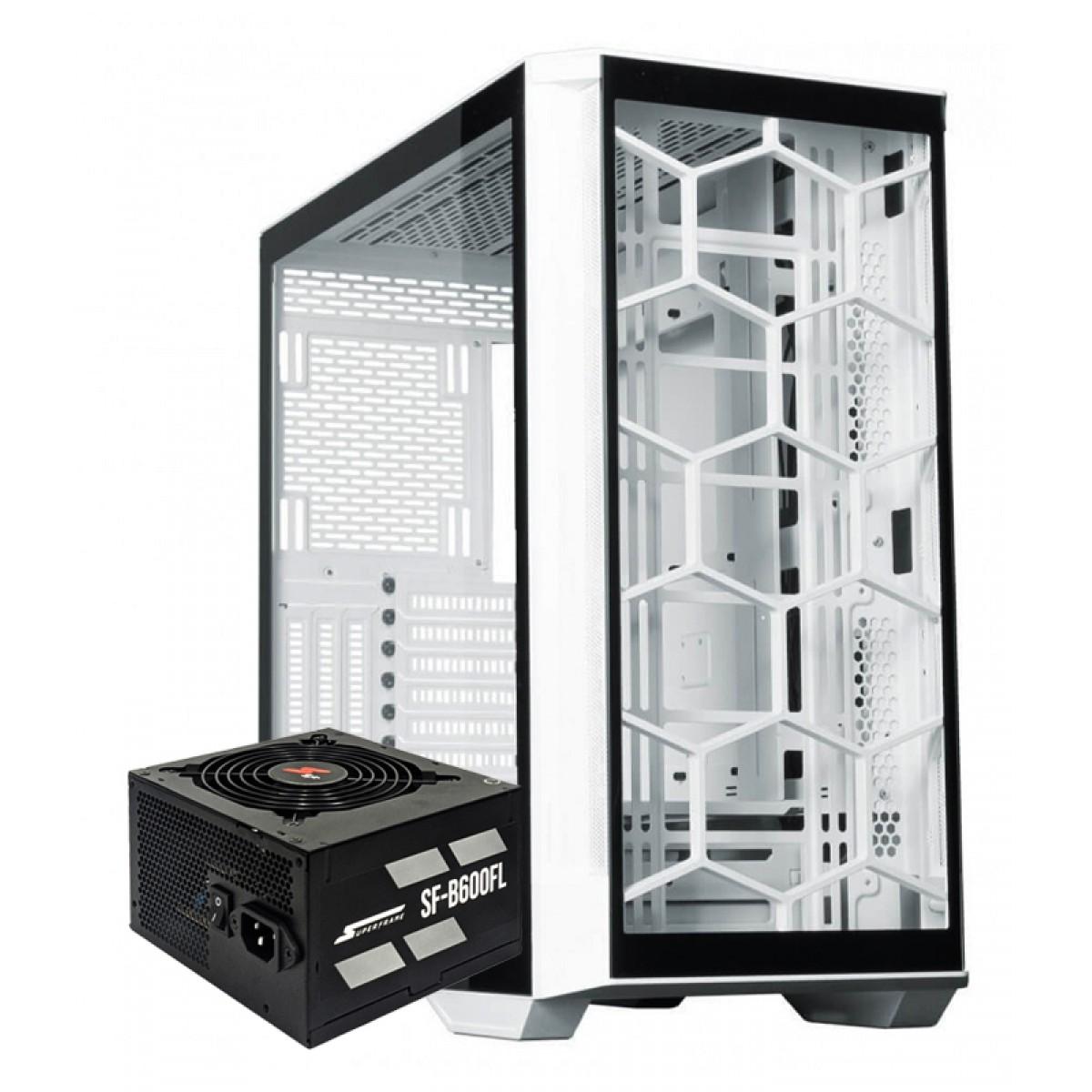 Kit Upgrade, Gabinete Redragon Megatron White, Fonte SuperFrame 600W