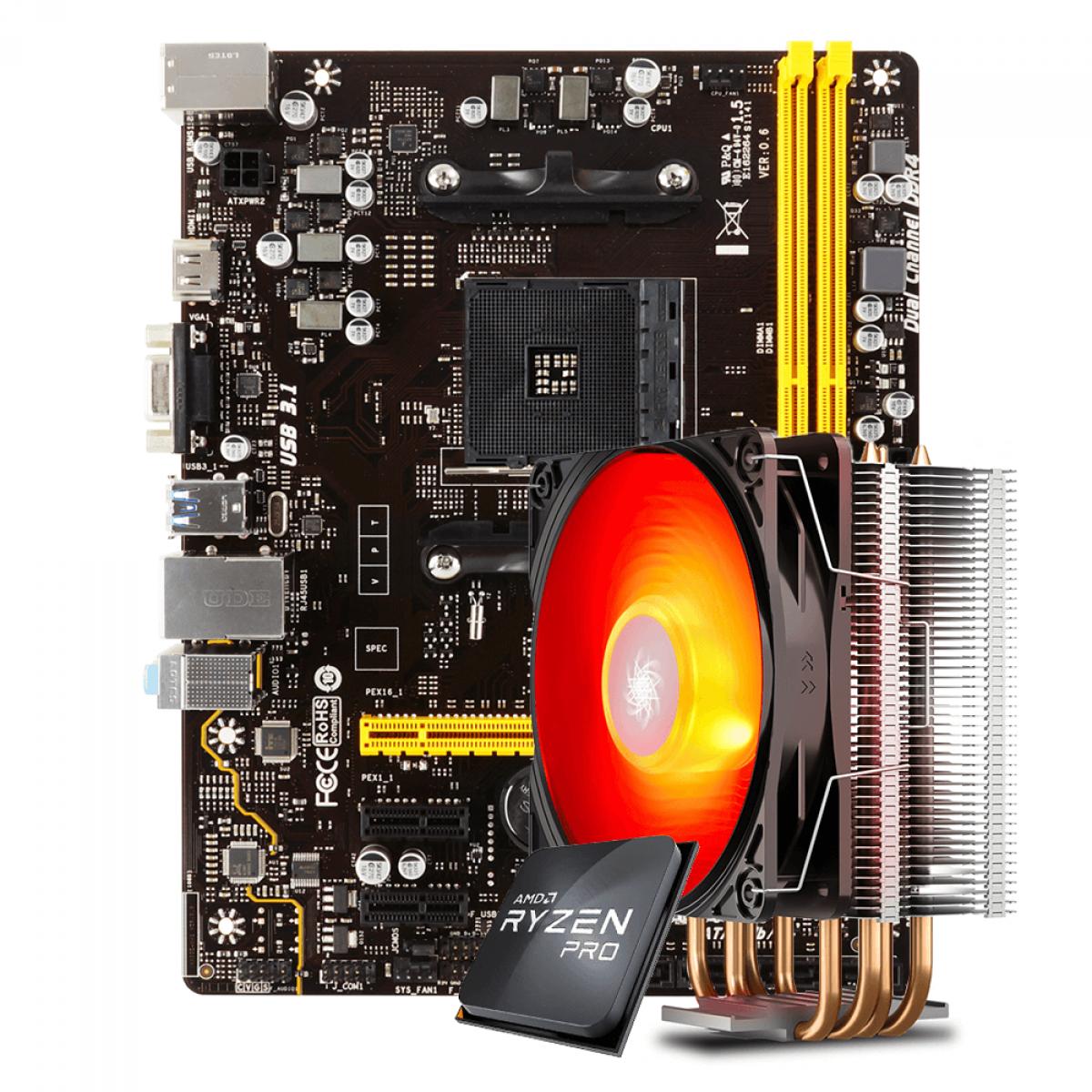Kit Upgrade Placa Mãe Biostar A320MH DDR4 AMD AM4 + Processador AMD Ryzen 3 PRO 3200GE 3.3GHz + Cooler