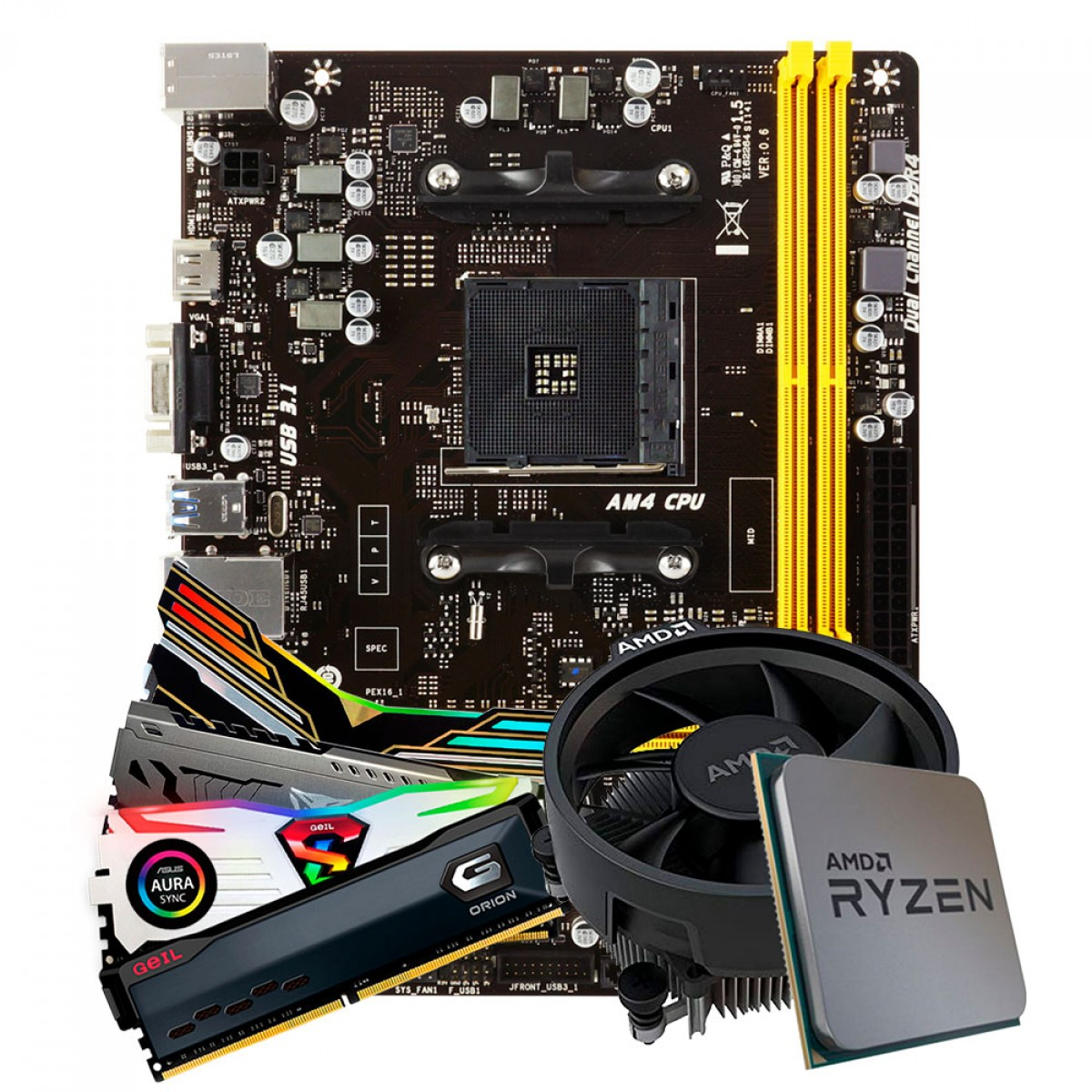 Kit Upgrade Placa Mãe Biostar A320MH DDR4 AMD AM4 + Processador AMD Ryzen 5 3500 4.1GHz + Memória DDR4 8GB 3000MHz