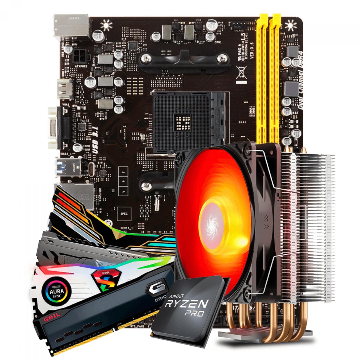 Kit Upgrade Placa Mãe Biostar A320MH DDR4 AMD AM4 + Processador AMD Ryzen 3 PRO 3200GE 3.3GHz + Cooler + Memória DDR4 8GB 3000MHz
