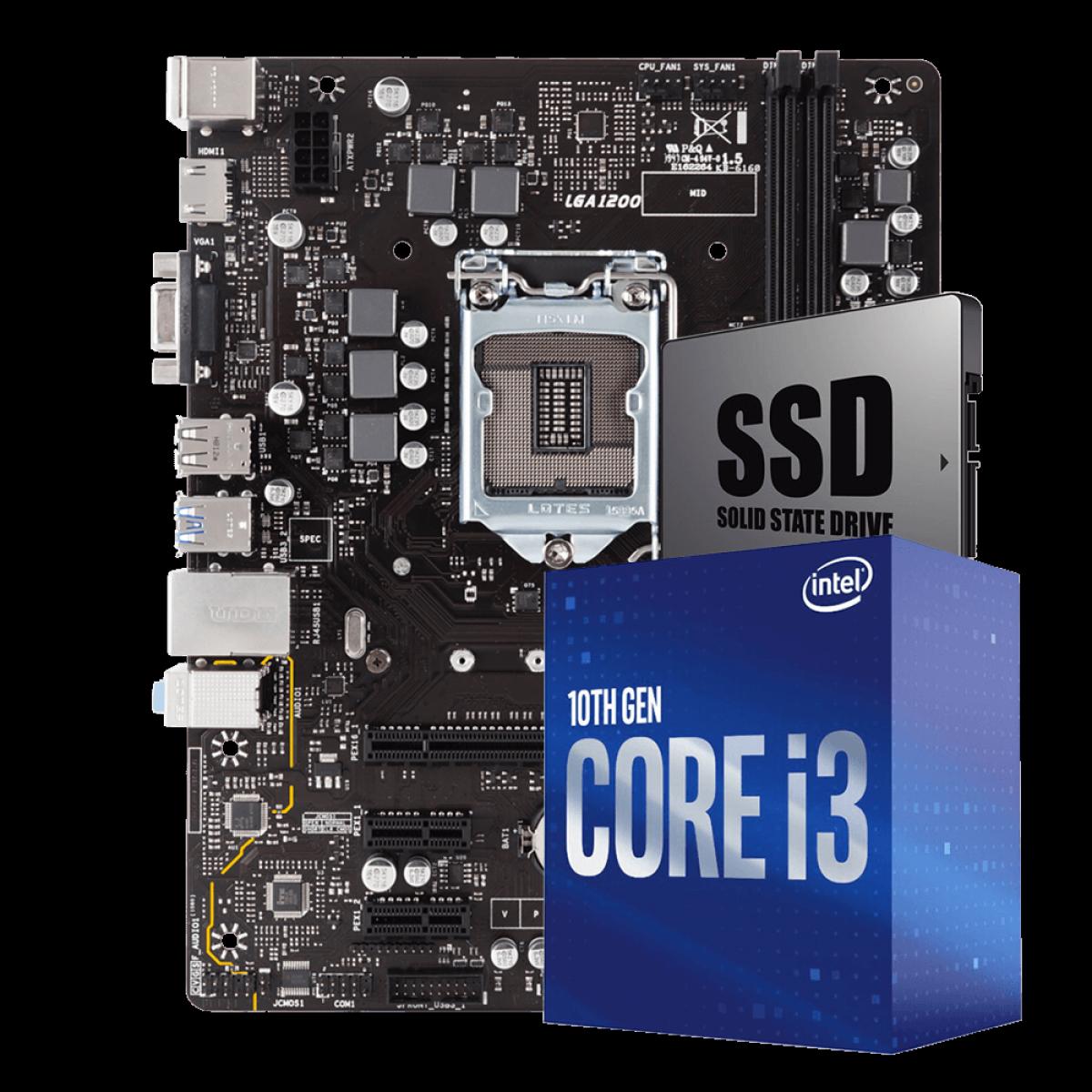Kit Upgrade Biostar H410MH VER 6.0 + Intel Core i3 10100F + SSD 240GB