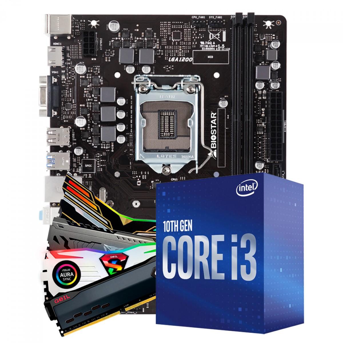 Kit Upgrade Biostar H410MH VER 6.0 + Intel Core i3 10105F + Memória DDR4 8GB 3000MHz